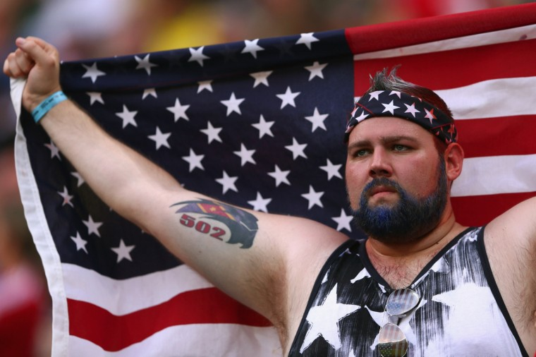 A fan of the United States looks on prior to the 2014 FIFA World Cup Brazil Group G match between the United States and Portugal at Arena Amazonia on June 22, 2014 in Manaus, Brazil. (Warren Little/Getty Images)
