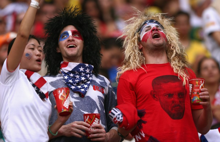 United States fans enjoy the atmosphere prior to the 2014 FIFA World Cup Brazil Group G match between the United States and Portugal at Arena Amazonia on June 22, 2014 in Manaus, Brazil. (Warren Little/Getty Images)