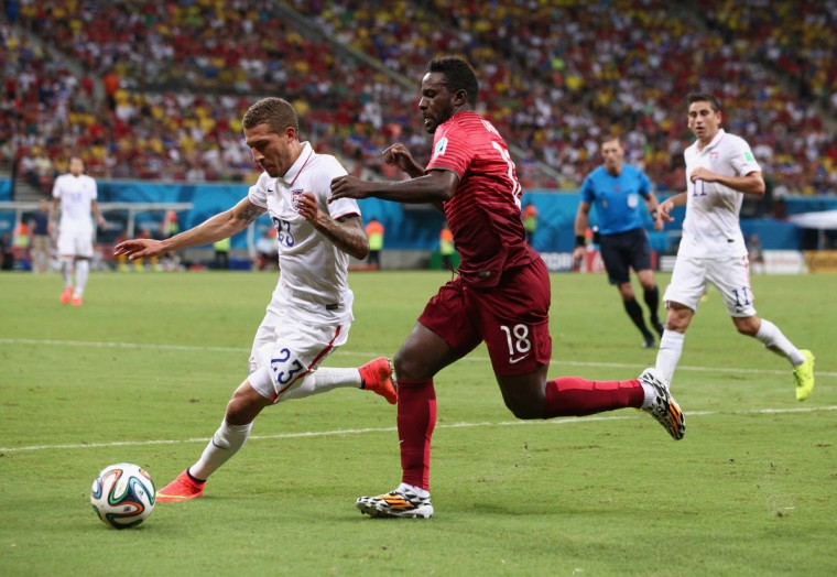 Fabian Johnson of the United States controls the ball against Silvestre Varela of Portugal during the 2014 FIFA World Cup Brazil Group G match between the United States and Portugal at Arena Amazonia on June 22, 2014 in Manaus, Brazil. (Adam Pretty/Getty Images)