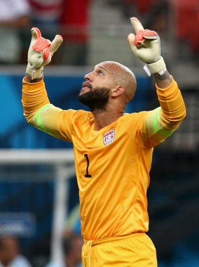 Goalkeeper Tim Howard of the United States celebrates his team's first goal during the 2014 FIFA World Cup Brazil Group G match between the United States and Portugal at Arena Amazonia on June 22, 2014 in Manaus, Brazil. (Adam Pretty/Getty Images)