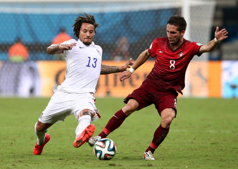 Jermaine Jones of the United States and Joao Moutinho of Portugal compete for the ball during the 2014 FIFA World Cup Brazil Group G match between the United States and Portugal at Arena Amazonia on June 22, 2014 in Manaus, Brazil. (Adam Pretty/Getty Images)