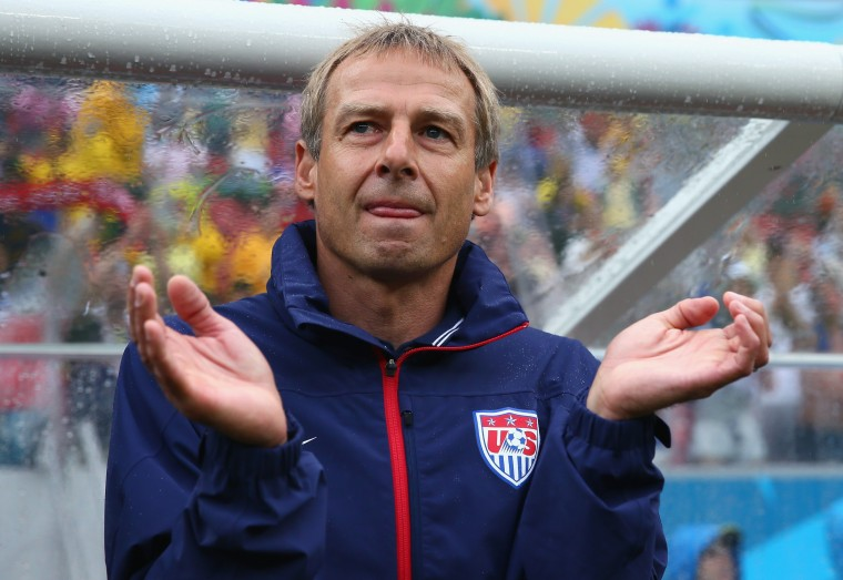 Head coach Jurgen Klinsmann of the United States looks on during the 2014 FIFA World Cup Brazil group G match between the United States and Germany at Arena Pernambuco on June 26, 2014 in Recife, Brazil. (Photo by Kevin C. Cox/Getty Images)