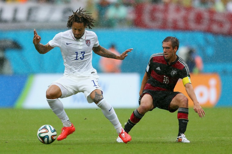 Jermaine Jones of the United States controls the ball against Philipp Lahm of Germany during the 2014 FIFA World Cup Brazil group G match between the United States and Germany at Arena Pernambuco on June 26, 2014 in Recife, Brazil. (Photo by Michael Steele/Getty Images)