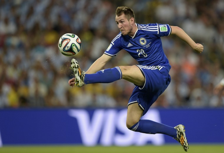 Bosnia-Hercegovina's midfielder Izet Hajrovic controls the ball during the Group F football match between Argentina and Bosnia Hercegovina at the Maracana Stadium in Rio De Janeiro during the 2014 FIFA World Cup on June 15, 2014. (Juan Mabromata/Getty Images)
