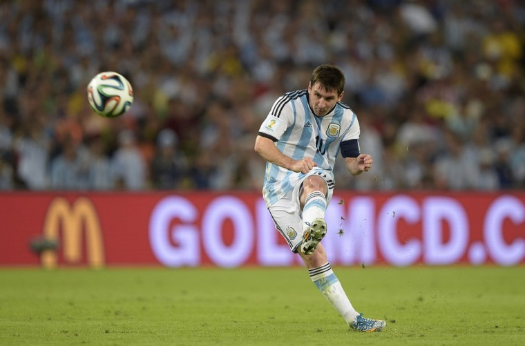 Argentina's forward and captain Lionel Messi kicks the ball during the Group F football match between Argentina and Bosnia Hercegovina at the Maracana Stadium in Rio De Janeiro during the 2014 FIFA World Cup on June 15, 2014. (Juan Mabromata/Getty Images)