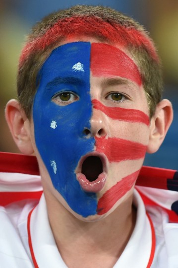 An US fan cheers before a Group G football match between Ghana and US at the Dunas Arena in Natal during the 2014 FIFA World Cup . (Emmanuel Dunand/AFP/Getty Images)