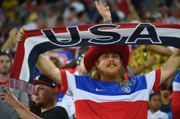 US fans cheer before a Group G football match between Ghana and US at the Dunas Arena in Natal during the 2014 FIFA World Cup. (Emmanuel Dunand/AFP/Getty Images)