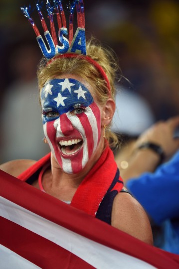 An US fan cheers before a Group G football match between Ghana and US at the Dunas Arena in Natal during the 2014 FIFA World Cup. (Emmanuel Dunand/AFP/Getty Images)