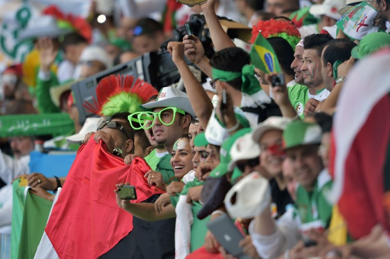 Algeria fans are pictured before the start of the Group H football match between Belgium and Algeria at the Mineirao Stadium in Belo Horizonte during the 2014 FIFA World Cup on June 17, 2014. (Gabriel Bouys/AFP/Getty Images)