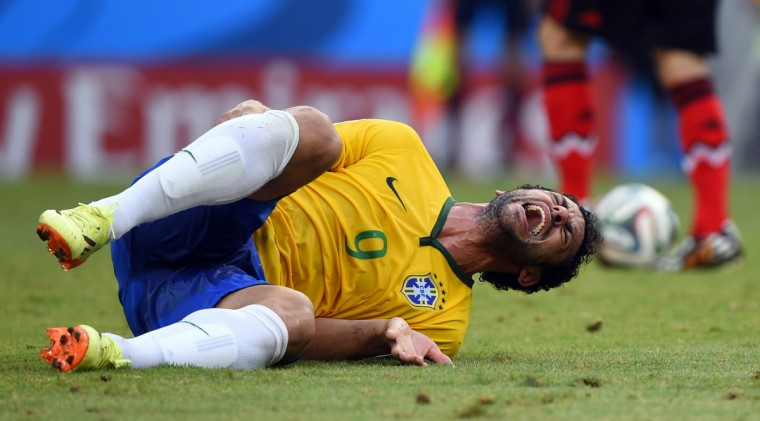 Brazil's forward Fred reacts during a Group A football match between Brazil and Mexico in the Castelao Stadium in Fortaleza during the 2014 FIFA World Cup on June 17, 2014. (Odd Andersen/Getty Images)