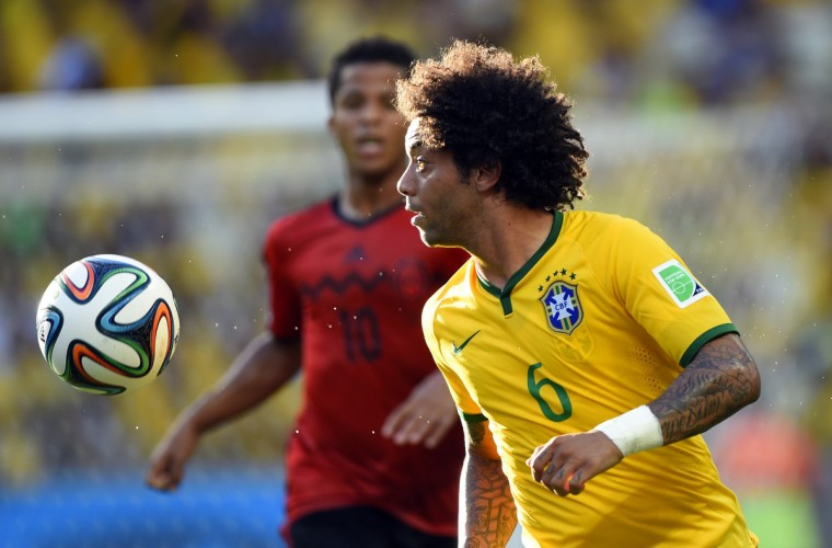 Brazil's defender Marcelo controls the ball during a Group A football match between Brazil and Mexico in the Castelao Stadium in Fortaleza during the 2014 FIFA World Cup on June 17, 2014. (Odd Andersen/Getty Images)
