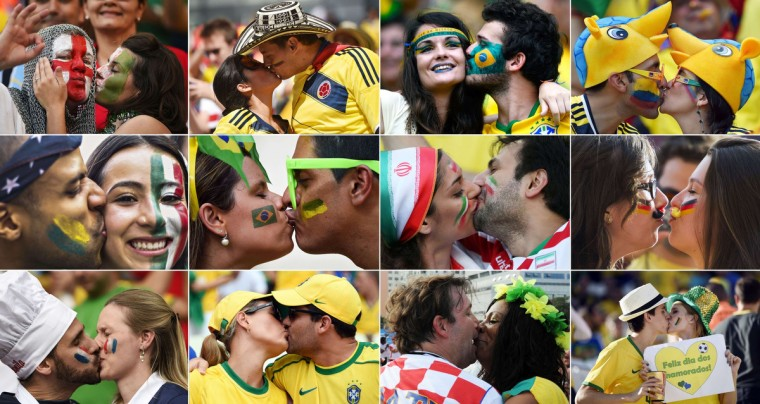 A combination of pictures taken in June 2014 shows supporters from various countries kissing while attending the 2014 FIFA World Cup in Brazil. (Getty Images)