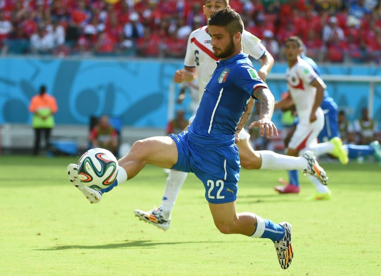 Italy's forward Lorenzo Insigne runs with the ball during a Group D football match between Italy and Costa Rica at the Pernambuco Arena in Recife during the 2014 FIFA World Cup on June 20, 2014. (Emmanuel Duand/AFP/Getty Images)