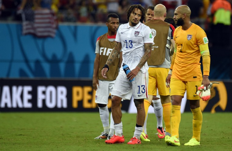 US midfielder Jermaine Jones (C) reacts after a Group G football match between USA and Portugal at the Amazonia Arena in Manaus during the 2014 FIFA World Cup on June 22, 2014. (Odd Andersen/Getty Images)