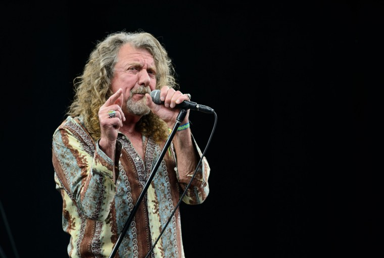 British singer Robert Plant performs on the Pyramid Stage, on the second day of the Glastonbury Festival of Music and Performing Arts in Somerset, southwest England, on June 28, 2014. (Leon Neal/Getty Images)