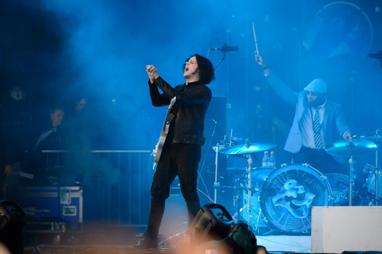 US musician Jack White performs on the Pyramid Stage, on the second day of the Glastonbury Festival of Music and Performing Arts on Worthy Farm in Somerset, south west England, on June 28, 2014. (Leon Neal/Getty Images)