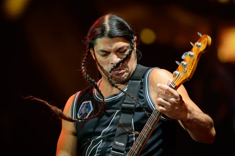 Rob Trujillo of US metal band Metallica performs on the Pyramid Stage, on the second day of the Glastonbury Festival of Music and Performing Arts on Worthy Farm in Somerset, south west England, on June 28, 2014. (Leon Neal/Getty Images)