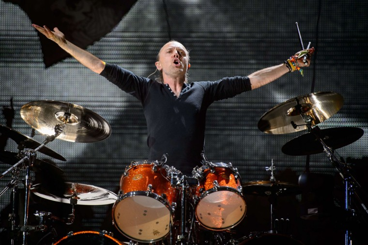 Lars Ulrich of US metal band Metallica performs on the Pyramid Stage, on the second day of the Glastonbury Festival of Music and Performing Arts on Worthy Farm in Somerset, south west England, on June 28, 2014. (Leon Neal/Getty Images)