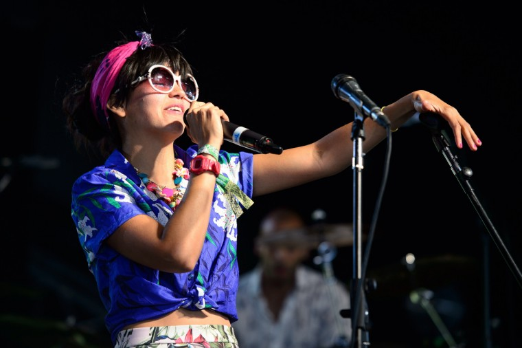 Liliana Saumet of Colombian dance group Bomba Estereo performs on the Sonic Stage, on the last day of the Glastonbury Festival of Music and Performing Arts in Somerset, southwest England, on June 29, 2014. (Leon Neal/Getty Images)