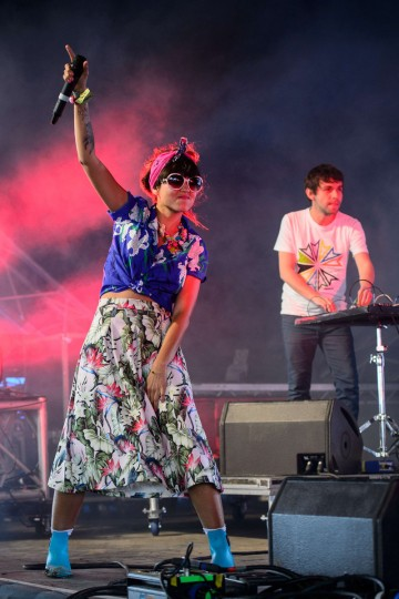 Liliana Saumet (L) and Julian Salazar of Colombian dance group Bomba Estereo perform on the Sonic Stage, on the last day of the Glastonbury Festival of Music and Performing Arts in Somerset, southwest England, on June 29, 2014. (Leon Neal/Getty Images)
