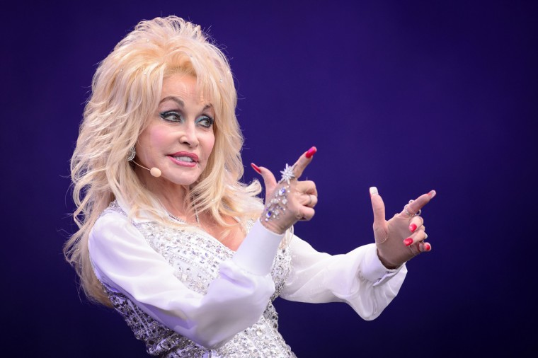 US country music singer Dolly Parton performs on the Pyramid Stage, on the final day of the Glastonbury Festival of Music and Performing Arts on Worthy Farm in Somerset, southwest England, on June 29, 2014. (Leon Neal/Getty Images)