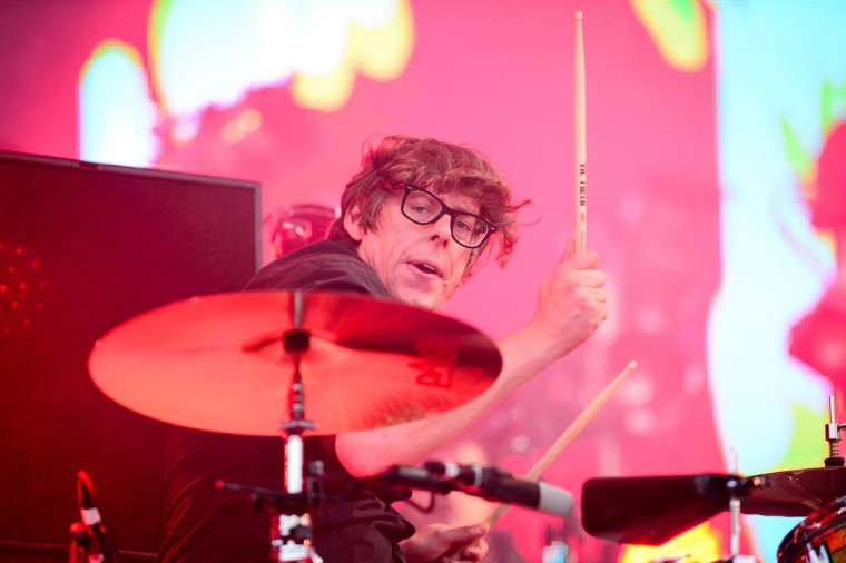 Patrick Carney of US group The Black Keys performs on the Pyramid Stage on the final day of the Glastonbury Festival of Music and Performing Arts on Worthy Farm in Somerset, south west England, on June 29, 2014. (Leon Neal/Getty Images)