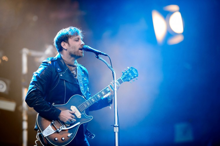 Dan Auerbach of US group The Black Keys performs on the Pyramid Stage on the final day of the Glastonbury Festival of Music and Performing Arts on Worthy Farm in Somerset, south west England, on June 29, 2014. (Leon Neal/Getty Images)