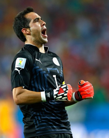 Claudio Bravo of Chile reacts after defeating Australia 3-1 during the 2014 FIFA World Cup Brazil Group B match between Chile and Australia at Arena Pantanal on June 13, 2014 in Cuiaba, Brazil. (Matthew Lewis/Getty Images)