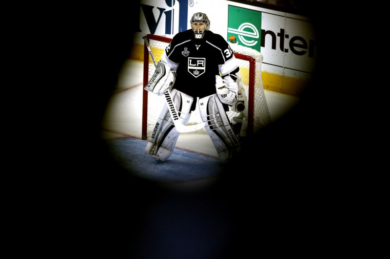 Goaltender Jonathan Quick #32 of the Los Angeles Kings in net in the third period against the New York Rangers during Game Five of the 2014 Stanley Cup Final at Staples Center on June 13, 2014 in Los Angeles, California. (Christian Petersen/Getty Images)