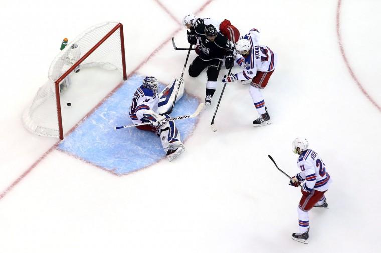 Marian Gaborik #12 of the Los Angeles Kings scores a goal past goaltender Henrik Lundqvist #30 of the New York Rangers in the third period during Game Five of the 2014 Stanley Cup Final at Staples Center on June 13, 2014 in Los Angeles, California. (Bruce Bennett/Getty Images)