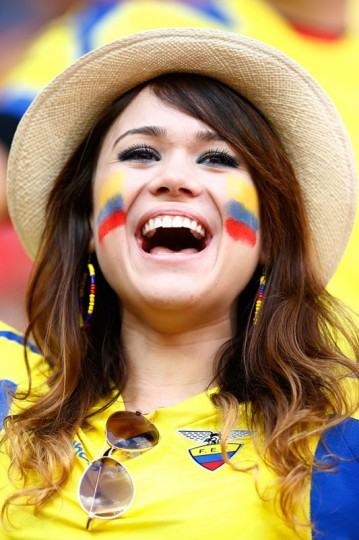 An Ecuador fan cheers prior to the 2014 FIFA World Cup Brazil Group E match between Switzerland and Ecuador at Estadio Nacional on June 15, 2014 in Brasilia, Brazil. (Matthew Lewis/Getty Images)