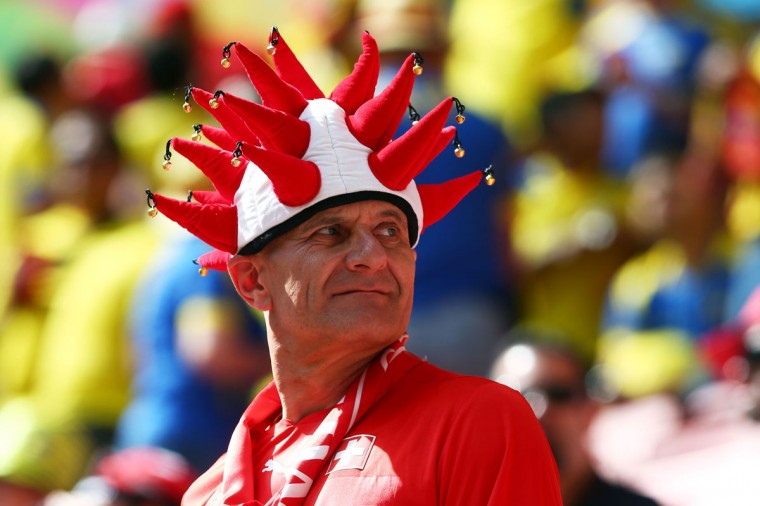 A Switzerland fan looks on prior to the 2014 FIFA World Cup Brazil Group E match between Switzerland and Ecuador at Estadio Nacional on June 15, 2014 in Brasilia, Brazil. (Clive Brunskill/Getty Images)