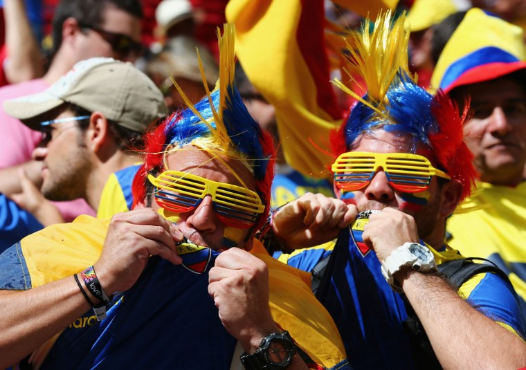 Ecuador fans cheer during the 2014 FIFA World Cup Brazil Group E match between Switzerland and Ecuador at Estadio Nacional on June 15, 2014 in Brasilia, Brazil. (Clive Brunskill/Getty Images)