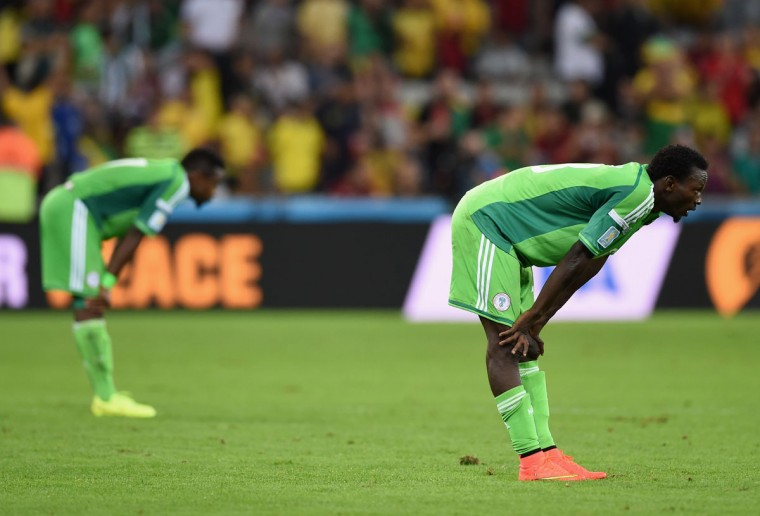 Juwon Oshaniwa of Nigeria looks on late in the game during the 2014 FIFA World Cup Brazil Group F match between Iran and Nigeria at Arena da Baixada on June 16, 2014 in Curitiba, Brazil. (Photo by Matthias Hangst/Getty Images)