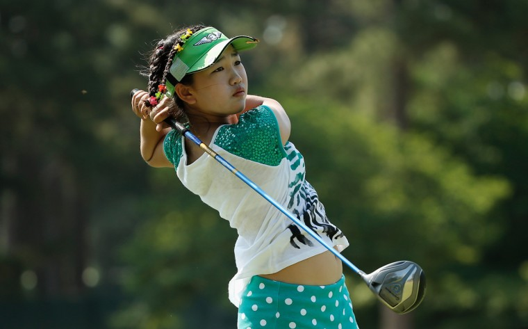 Eleven-year old Amateur Lucy Li of the United States hits a shot during a practice round prior to the start of the 69th U.S. Women's Open at Pinehurst Resort & Country Club, Course No. 2 on June 17, 2014 in Pinehurst, North Carolina. (Getty Images/Scott Halleran)