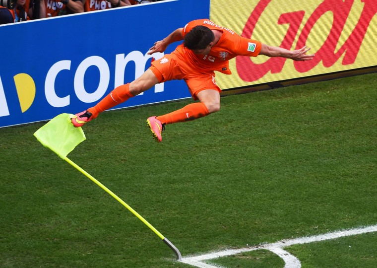 Klaas-Jan Huntelaar of the Netherlands celebrates scoring his team's second goal during the 2014 FIFA World Cup Brazil Round of 16 match between Netherlands and Mexico at Castelao on June 29, 2014 in Fortaleza, Brazil. (Jamie McDonald/Getty Images)