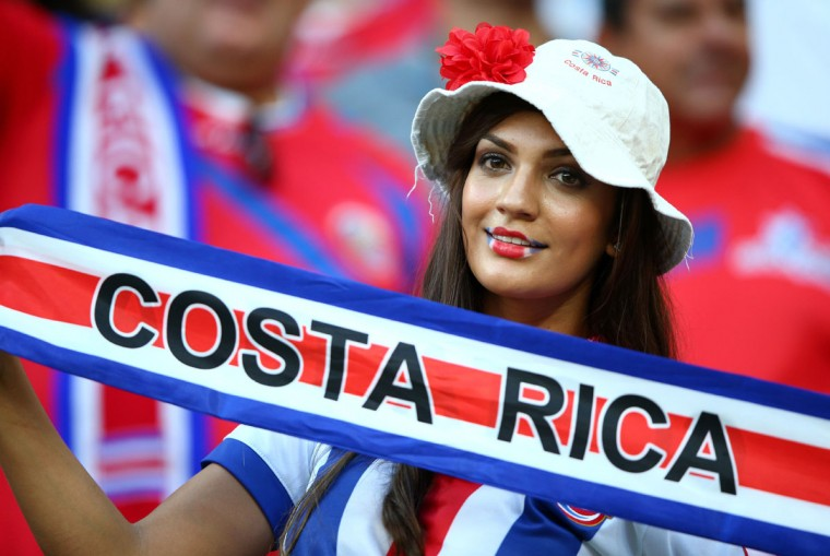 A Costa Rica fan enjoys the atmosphere during the 2014 FIFA World Cup Brazil Round of 16 match between Costa Rica and Greece at Arena Pernambuco on June 29, 2014 in Recife, Brazil. (Ian Walton/Getty Images)