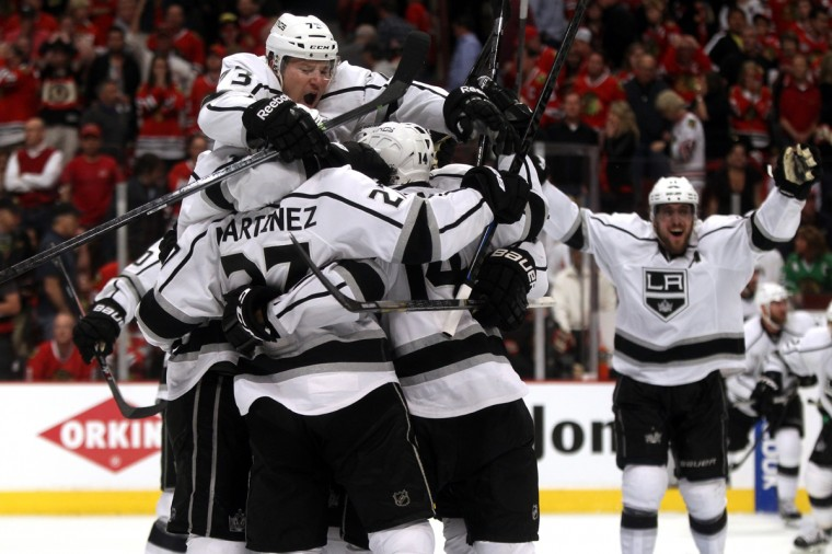 The Los Angeles Kings celebrate defeating the Chicago Blackhawks 5 to 4 in overtime in Game Seven to win the Western Conference Final in the 2014 Stanley Cup Playoffs at United Center on June 1, 2014 in Chicago, Illinois. (Justin Heiman/Getty Images)