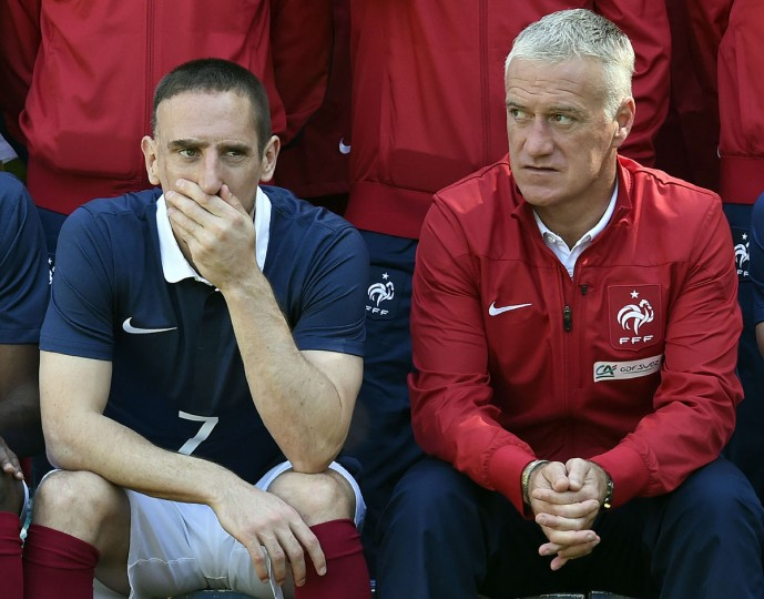France's national football team midfielder Franck Ribery and France's head coach Didier Deschamps pose for a team group photo at the French national football team's training base in Clairefontaine-en-Yvelines, outside Paris, on June 6, 2014, during France's national football team's preparation for the upcoming FIFA 2014 World Cup in Brazil. (Franck Fife/AFP/Getty Images)