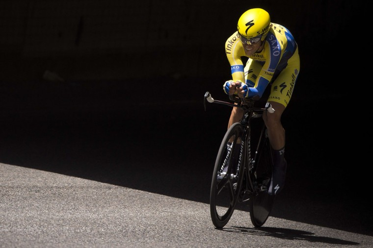Spanish Alberto Contador rides during the time trial first stage of the 66th edition of the Dauphine Criterium cycling race on June 8, 2014 in Lyon. Britain's Christopher Froome places first and Spanish Alberto Contador takes the second place. (Lionel Bonaventure/AFP/Getty Images)