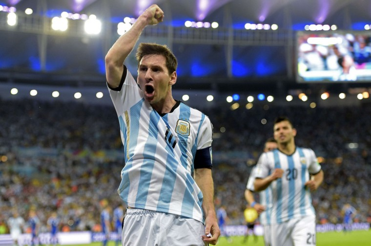 Argentina's forward and captain Lionel Messi celebrates after scoring his team's second goal during the Group F football match between Argentina and Bosnia Hercegovina at the Maracana Stadium in Rio De Janeiro during the 2014 FIFA World Cup on June 15, 2014. (JUAN MABROMATA/AFP/Getty Images)