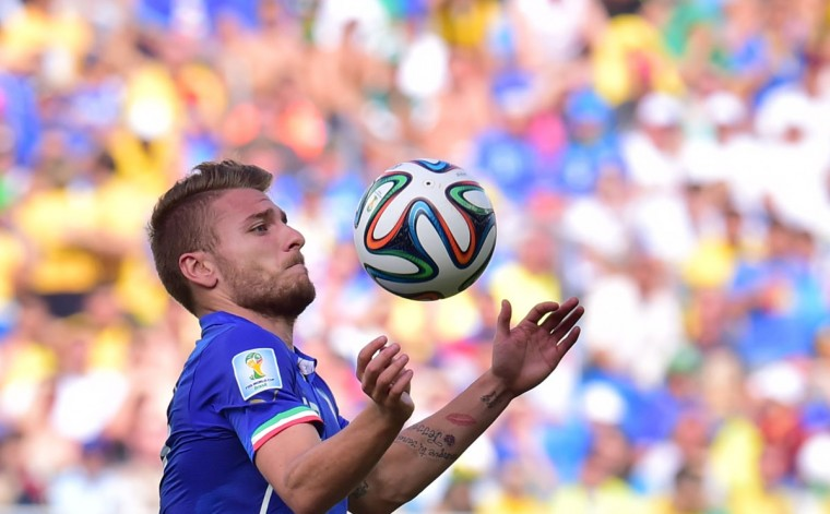 Italy forward Ciro Immobile controls the ball during the Group D football match between Italy and Uruguay at the Dunas Arena in Natal during the 2014 FIFA World Cup on June 24, 2014. (GIUSEPPE CACACE/AFP/Getty Images)