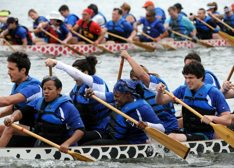 Stealth Dragon, a Northrop Grumman dragon boat team, competes in 500 meter time trial in the 2014 Baltimore Dragon Boat Challenge hosted by The Baltimore Dragon Boat Club. (Kim Hairston/Baltimore Sun)
