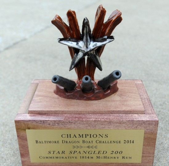 The trophy, handmade by Matt Hamer, that will go to the champions of the Baltimore Dragon Boat Challenge 2014 Star Spangled 200. The race is 1814 meters. (Kim Hairston/Baltimore Sun)