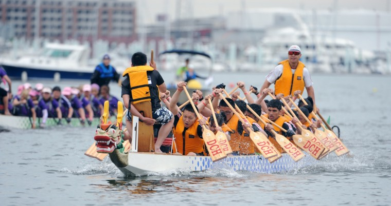 DCH Dragon Boat Racing junior team competes in a 500 meter time trial in the 2014 Baltimore Dragon Boat Challenge hosted by The Baltimore Dragon Boat Club. (Kim Hairston/Baltimore Sun)