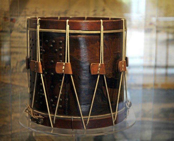 "This is the drum that 16 year old Henry Lightner, known as the ""Drummer Boy of Fort McHenry"" played as he marched from downtown to Fort McHenry. It is on display at the Star Spangled Banner Flag House Museum. (Barbara Haddock Taylor/Baltimore Sun)"