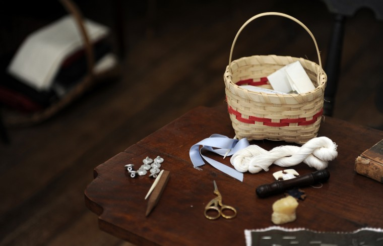 These are period replicas of sewing items in Mary Pickersgill's bedroom at the Star Spangled Banner Museum and Flag House. (Barbara Haddock Taylor/Baltimore Sun)