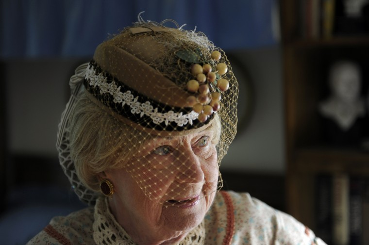 Jeannie Walden, who is 81, has been portraying a woman of the Civil War era for Memorial Day and other patriotic observances for the last 25 years. This is a portrait of her wearing her hat, which is a replica of one that would have been worn in the 1860s. (Barbara Haddock Taylor/Baltimore Sun)