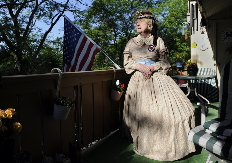 Jeannie Walden, 81, poses for a picture at her home. She is dressed as a Civil War era widow. She has been portraying the character as a living history actress for the past 25 years. (Barbara Haddock Taylor/Baltimore Sun)