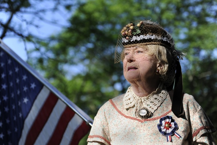 This is a portrait of Jeannie Walden, 81, who is dressed as a Civil War era widow. She has been portraying the character as a living history actress for the past 25 years. (Barbara Haddock Taylor/Baltimore Sun)